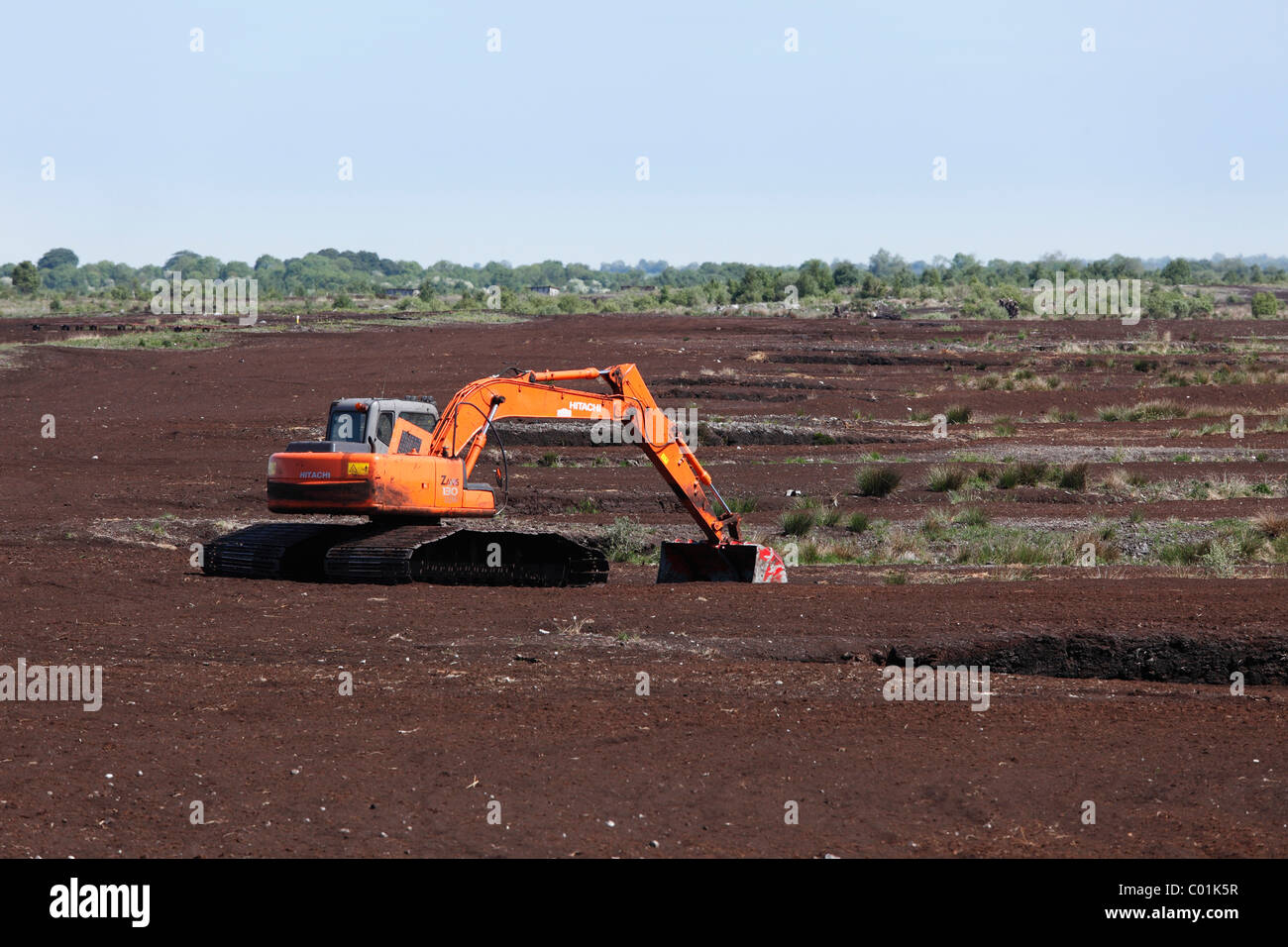 Peat harvest, Tullamore, County Offaly, Leinster province, Republic of Ireland, Europe - Stock Image
