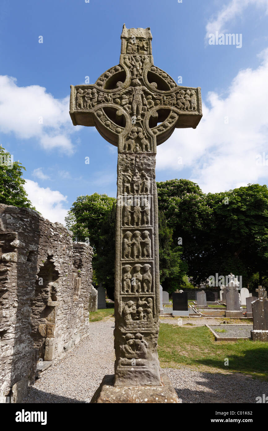 West Cross, tallest High Cross in Ireland, Monasterboice monastery, County Louth, Leinster province, Ireland, Europe - Stock Image