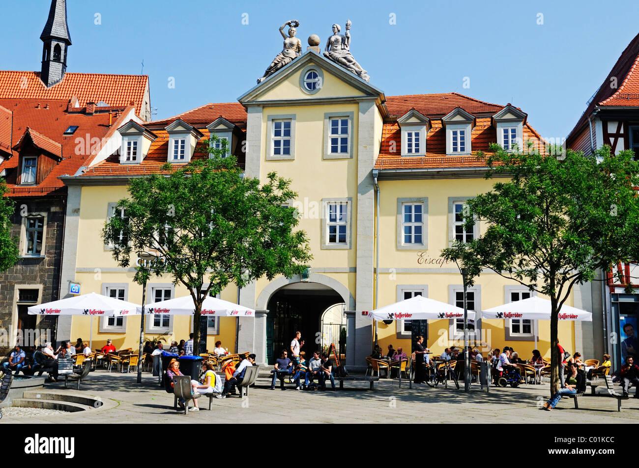 Sidewalk cafes on Anger square, Erfurt, Thuringia, Germany, Europe - Stock Image
