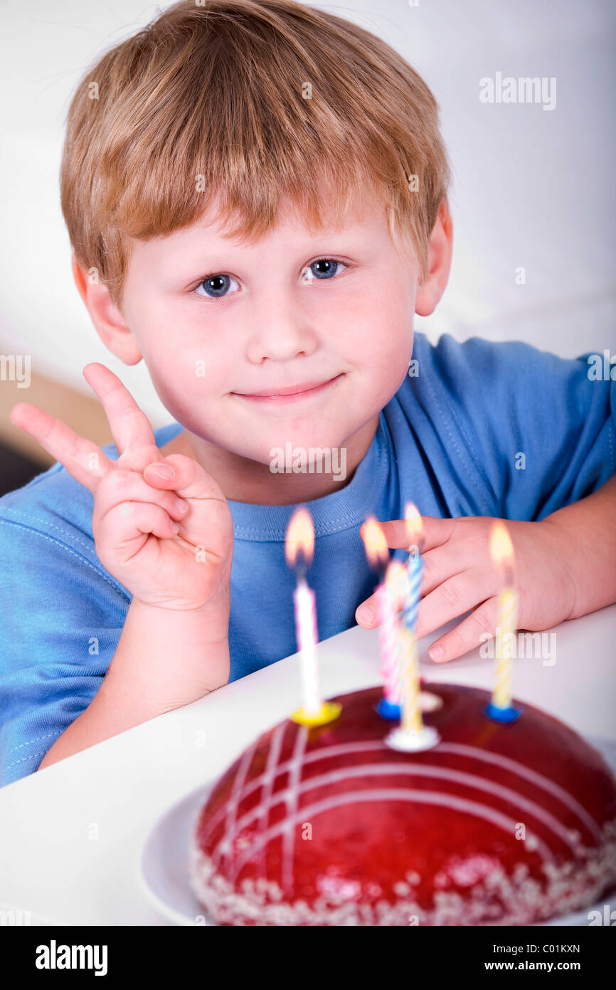 Excellent 4 Year Old Boy With Birthday Cake Stock Photo 34458333 Alamy Funny Birthday Cards Online Sheoxdamsfinfo