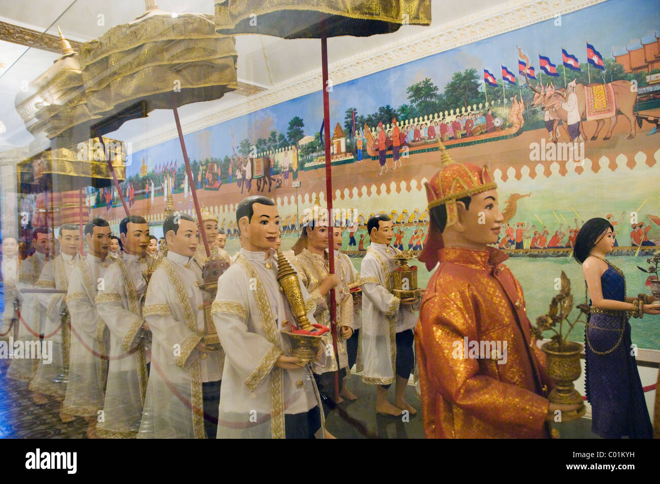 Model of the procession of the crown jewels in the Royal Palace, Phnom Penh, Cambodia, Indochina, Southeast Asia, - Stock Image