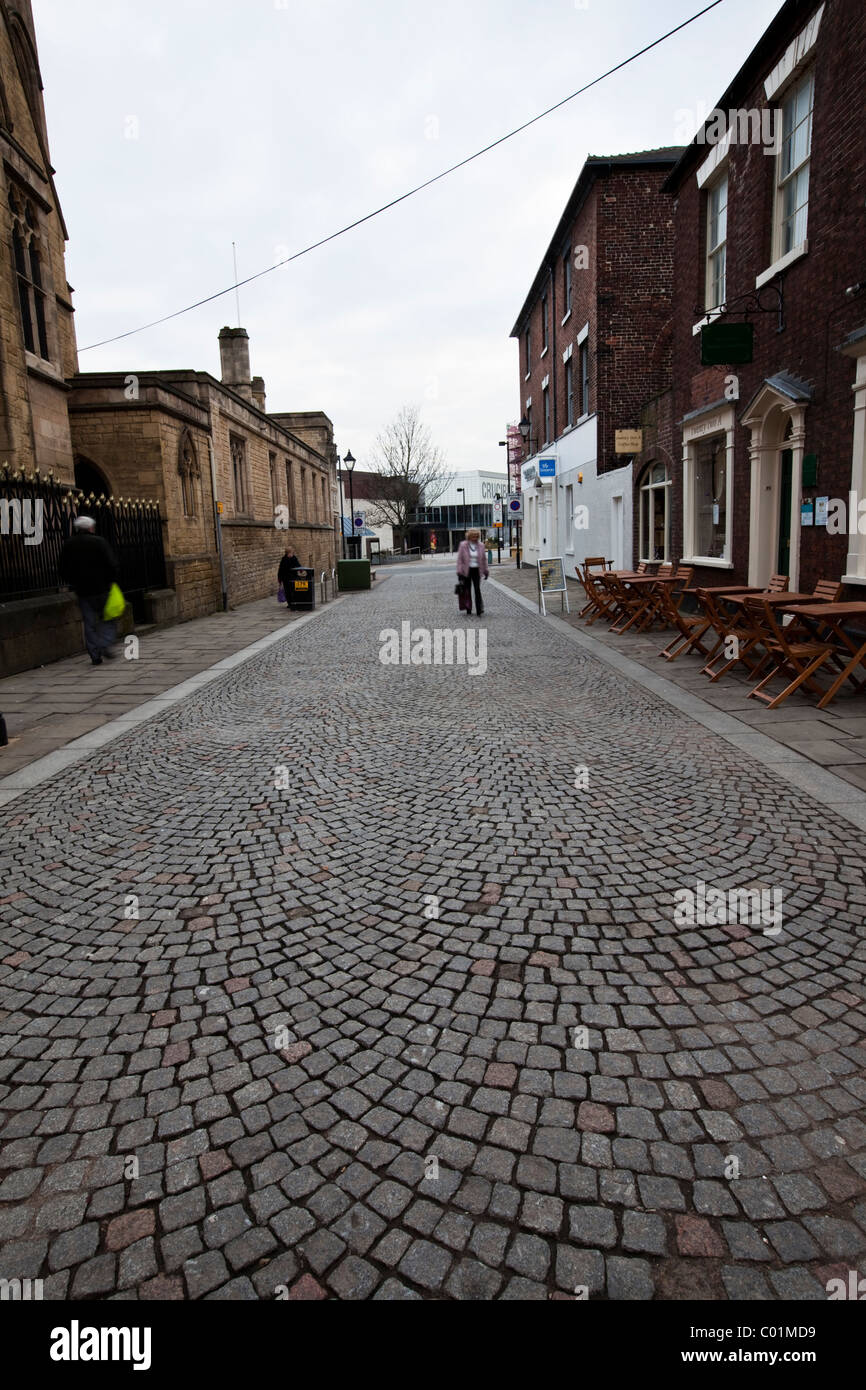 Block paved street in Sheffield city center South Yorkshire England - Stock Image