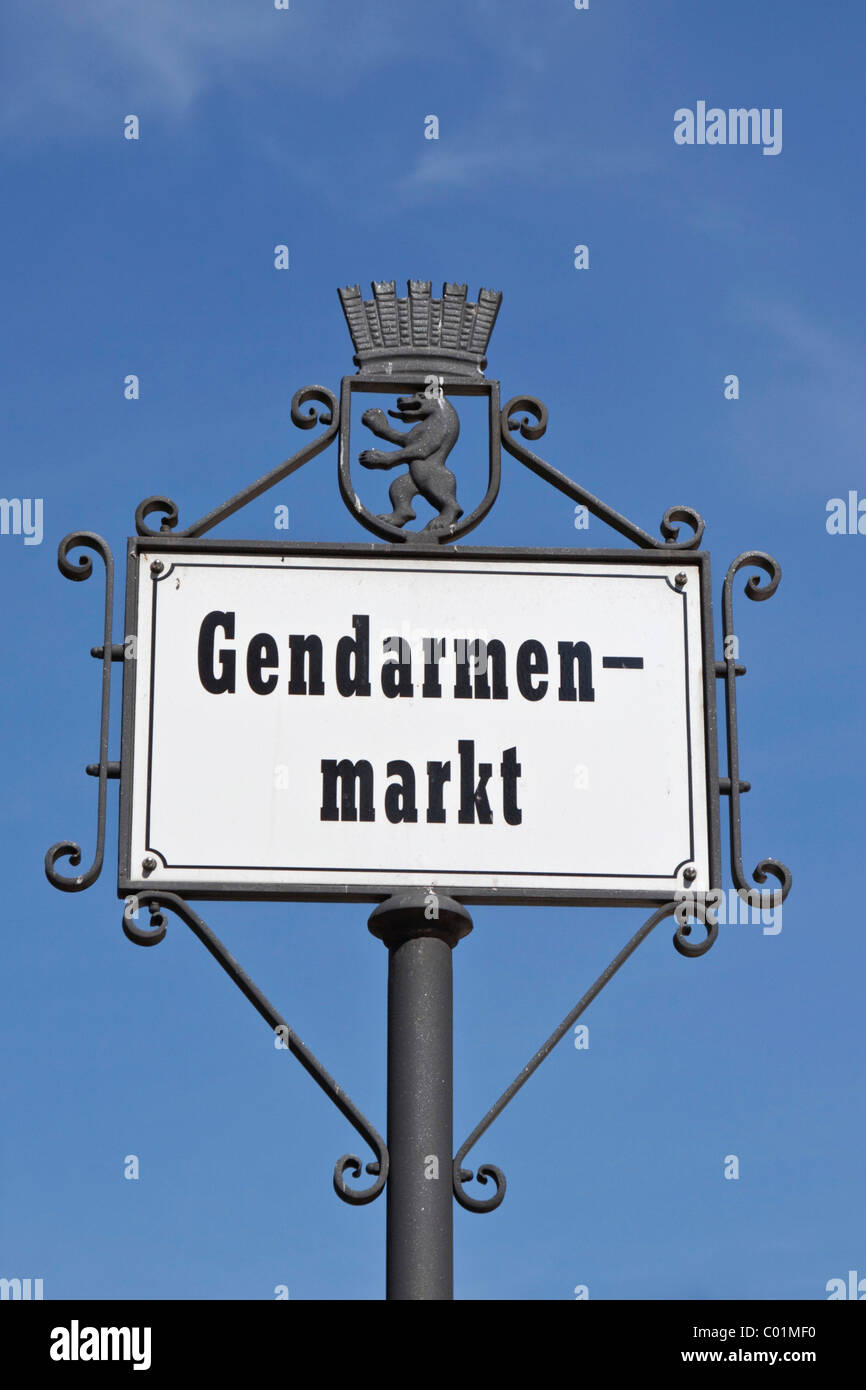 Street sign, Gendarmenmarkt square, Mitte district, Berlin, Germany, Europe - Stock Image