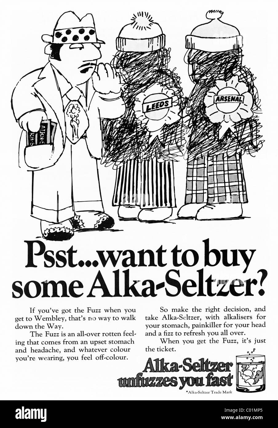 1970s advertisement in football programme for ALKA-SELTZER - Stock Image