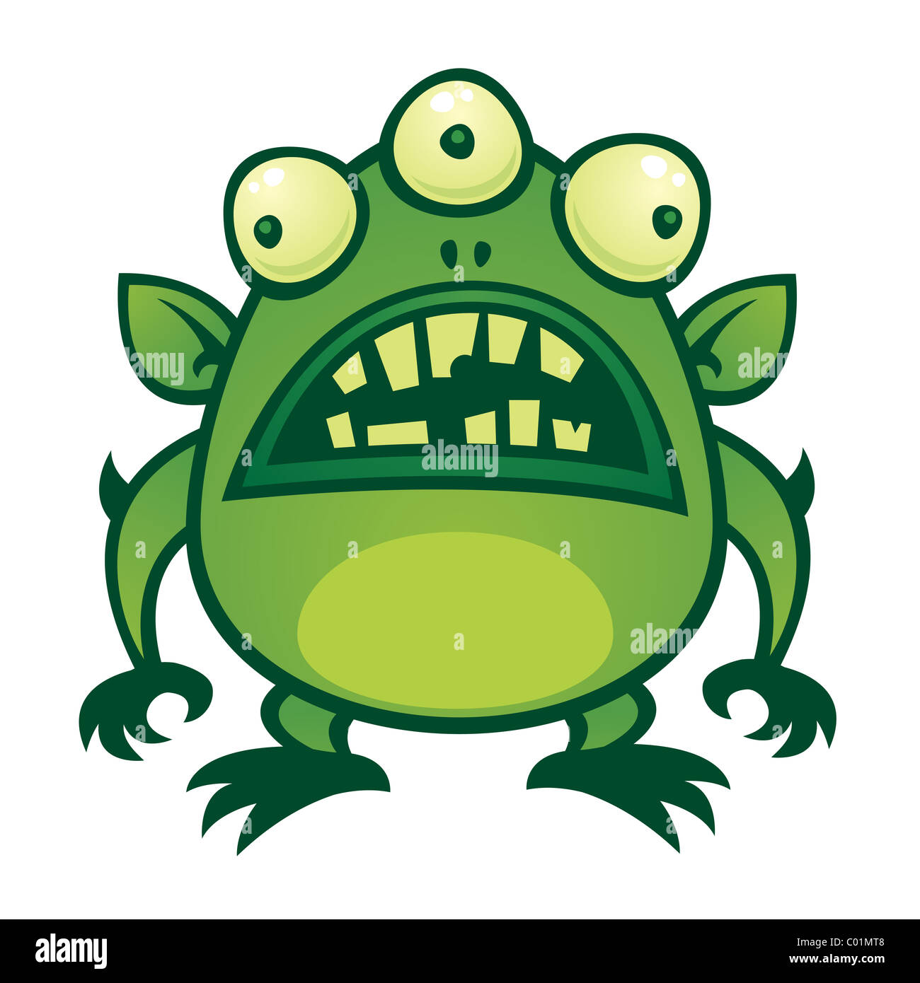 Vector cartoon illustration of an ugly green alien monster with three eyes. - Stock Image