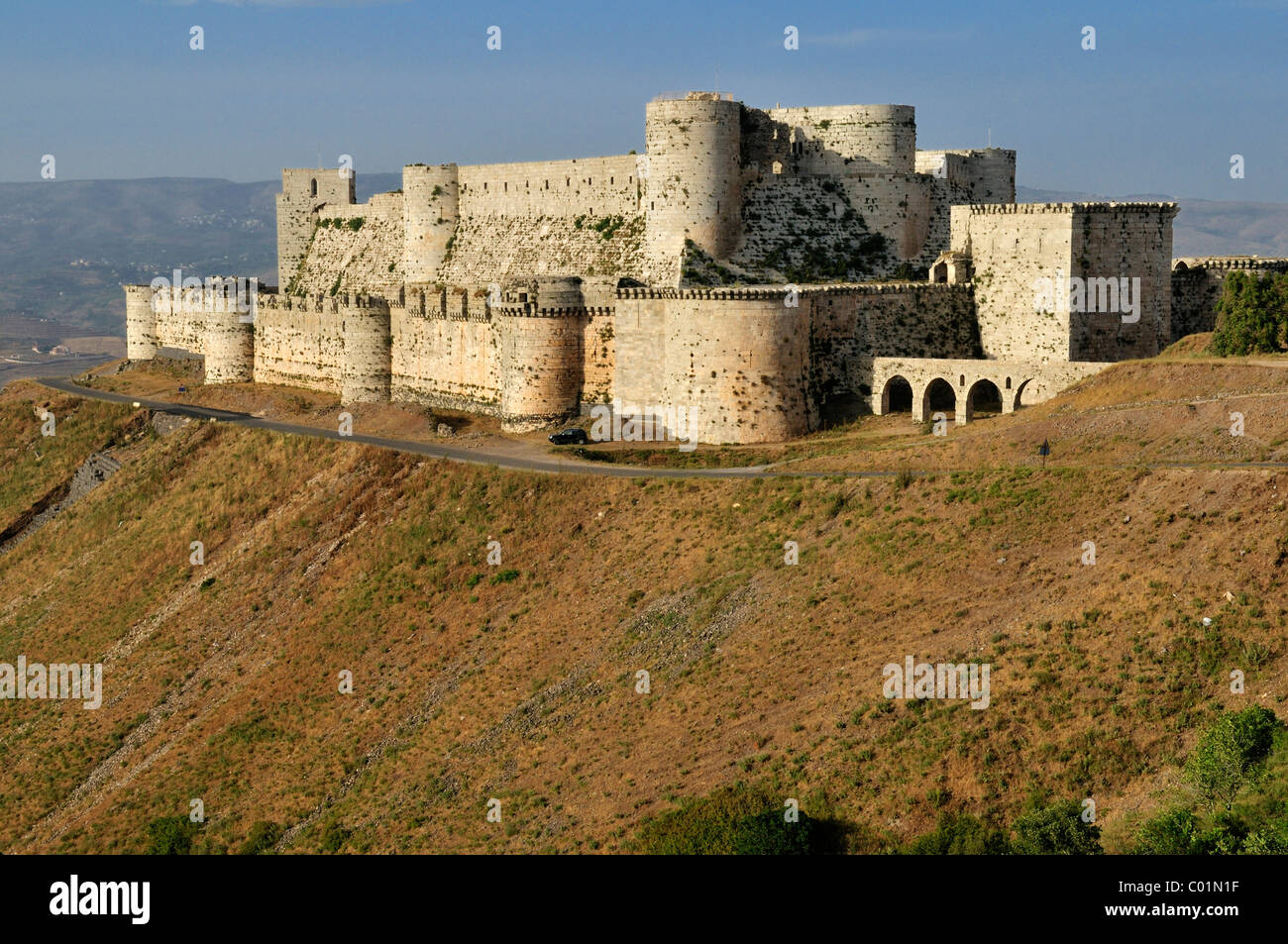 Crusader fortress Crac, Krak des Chevaliers, Qalaat al Husn, Hisn, Unesco World Heritage Site, Syria, Middle East, - Stock Image
