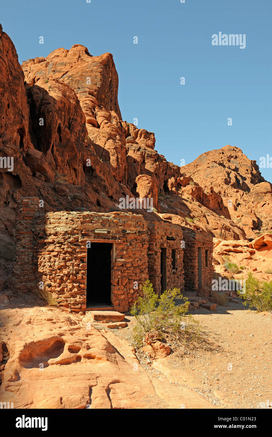 Houses of 1935, Civilian Conservation Corps or CCC of the conservation authorities, Valley of Fire State Park, Nevada, - Stock Image