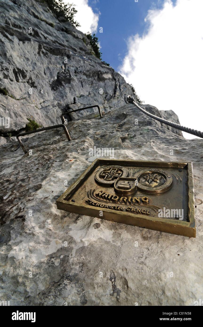 Schuasta Gangl, Gamssteig climbing route, Steinplatte Mountain, outdoor, Reit im Winkl, Chiemgau, Upper Bavaria, - Stock Image