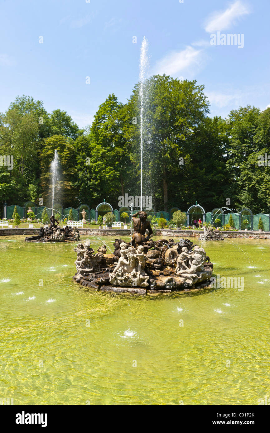 Water garden, park, Neues Schloss Castle, Hermitage near Bayreuth, Upper Franconia, Franconia, Bavaria, Germany, Stock Photo