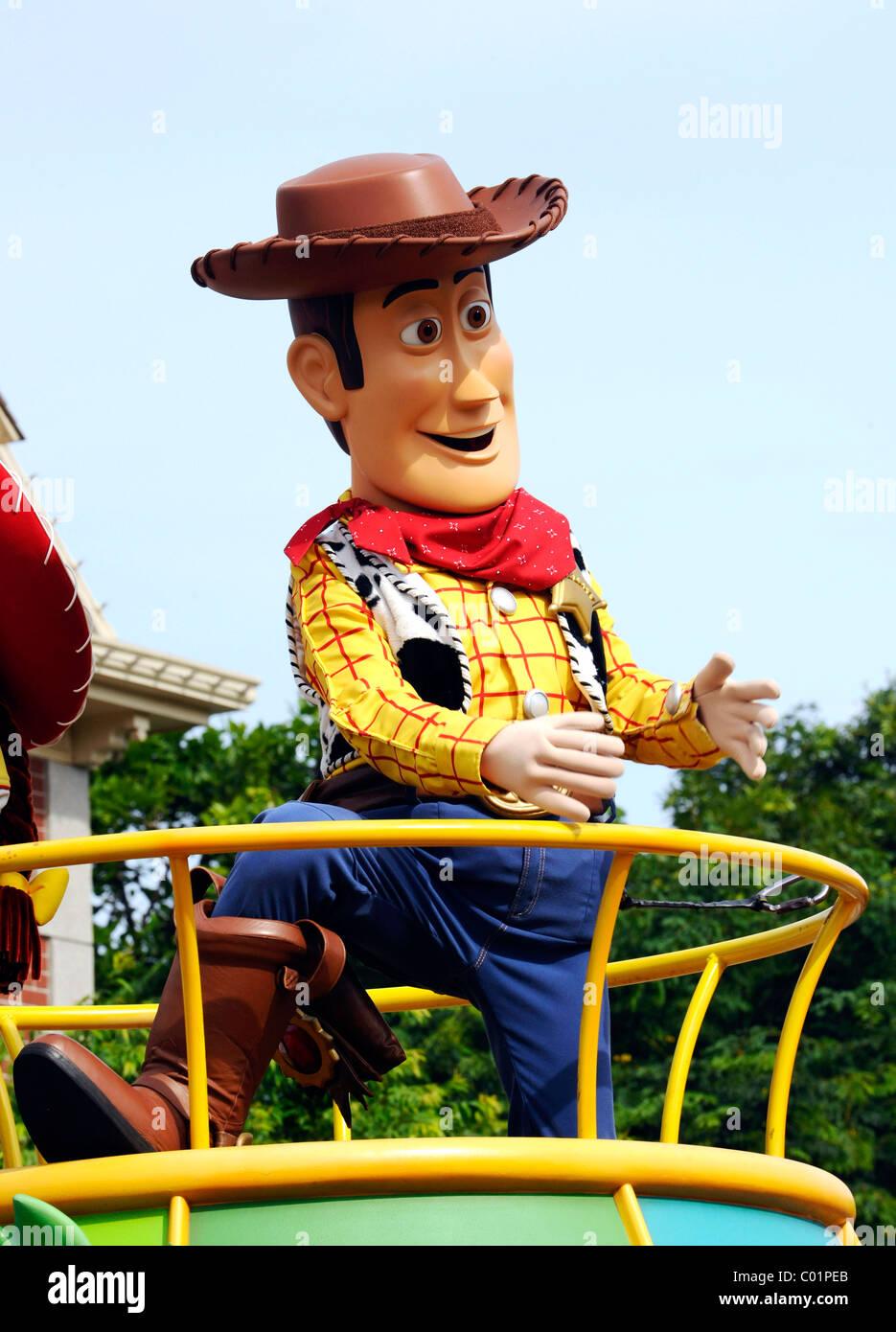 Woody on a truck at Disneyland, Hong Kong, China, Asia - Stock Image