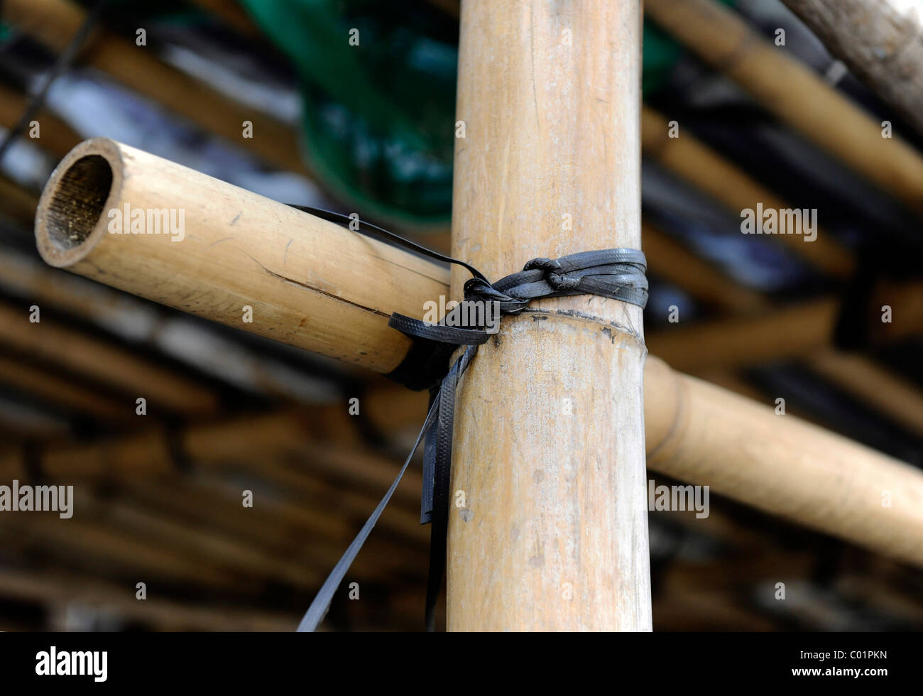 Detail of bamboo scaffolding, Macao, China, Asia - Stock Image