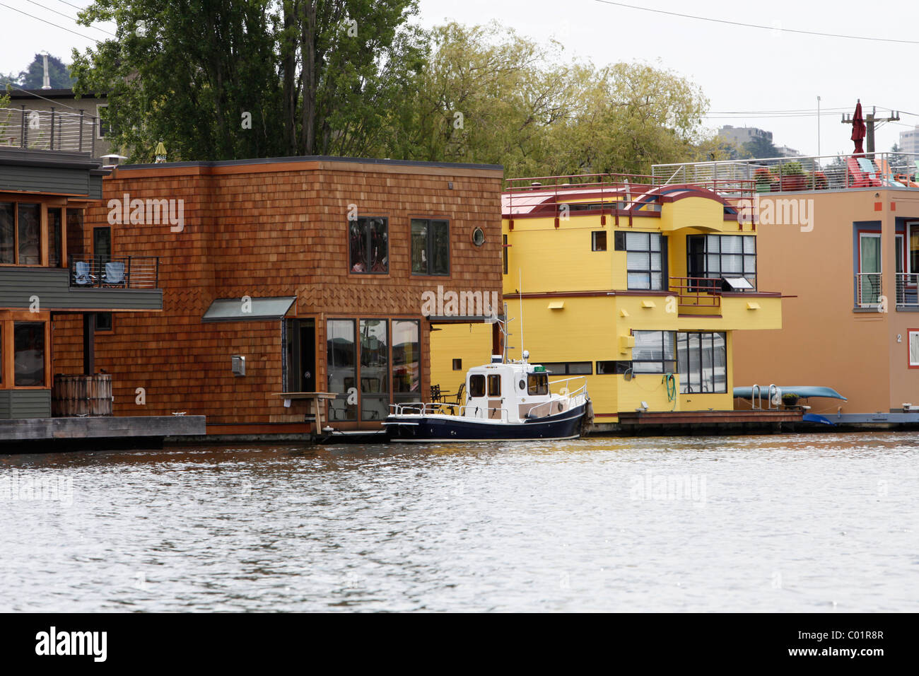 Floating homes on Lake Union, Seattle, Washington, USA Stock Photo