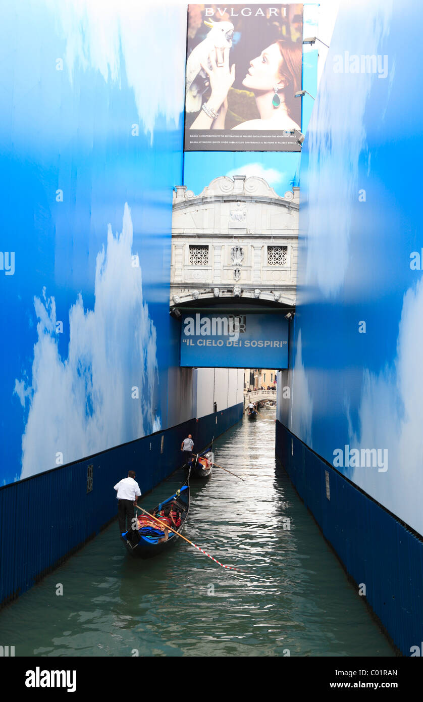 Bridge of Sighs, Ponte dei Sospiri with promotional posters, Venice, Italy, Europe Stock Photo