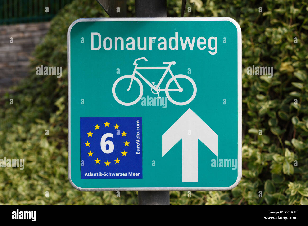Bike lane sign 'Donauradweg', German for 'Danube bike trail', Wachau valley, Waldviertel region, - Stock Image