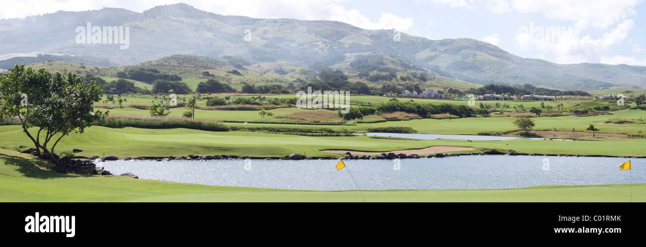 Panoramic view of golf field in Bel Ombre, Mauritius, Africa - Stock Image