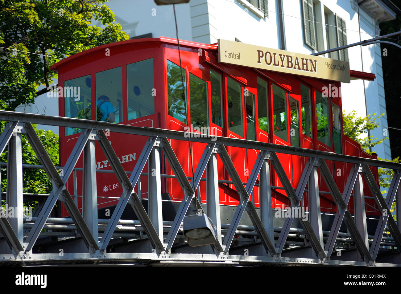 The Polybahn, a funicular railway, Zurich, Switzerland, Europe Stock Photo