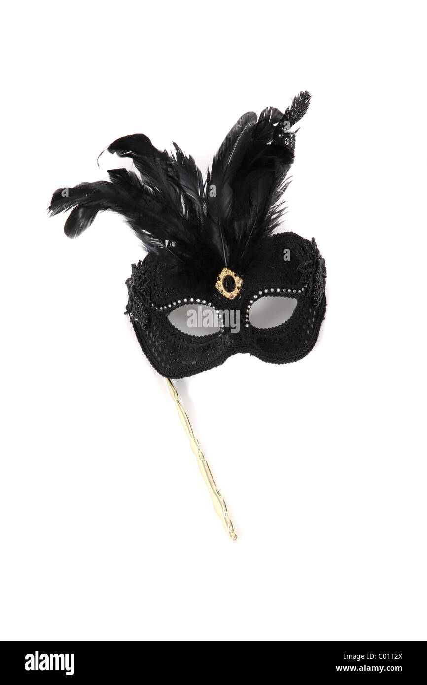 A carnival hand held mask. - Stock Image