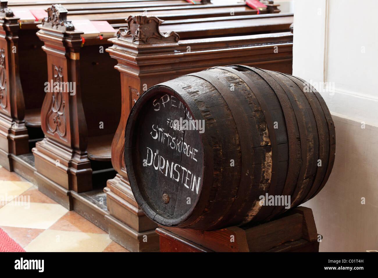 Wine barrel for donations, abbey church, Duernstein, Wachau valley, Waldviertel region, Lower Austria, Austria, - Stock Image