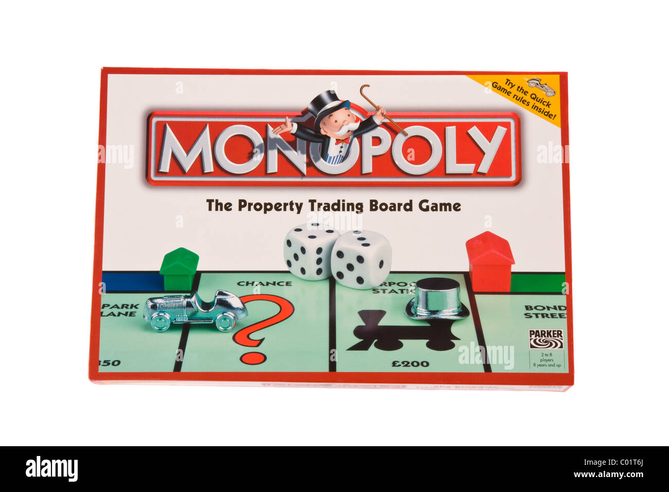 The box for the board game Monopoly. - Stock Image