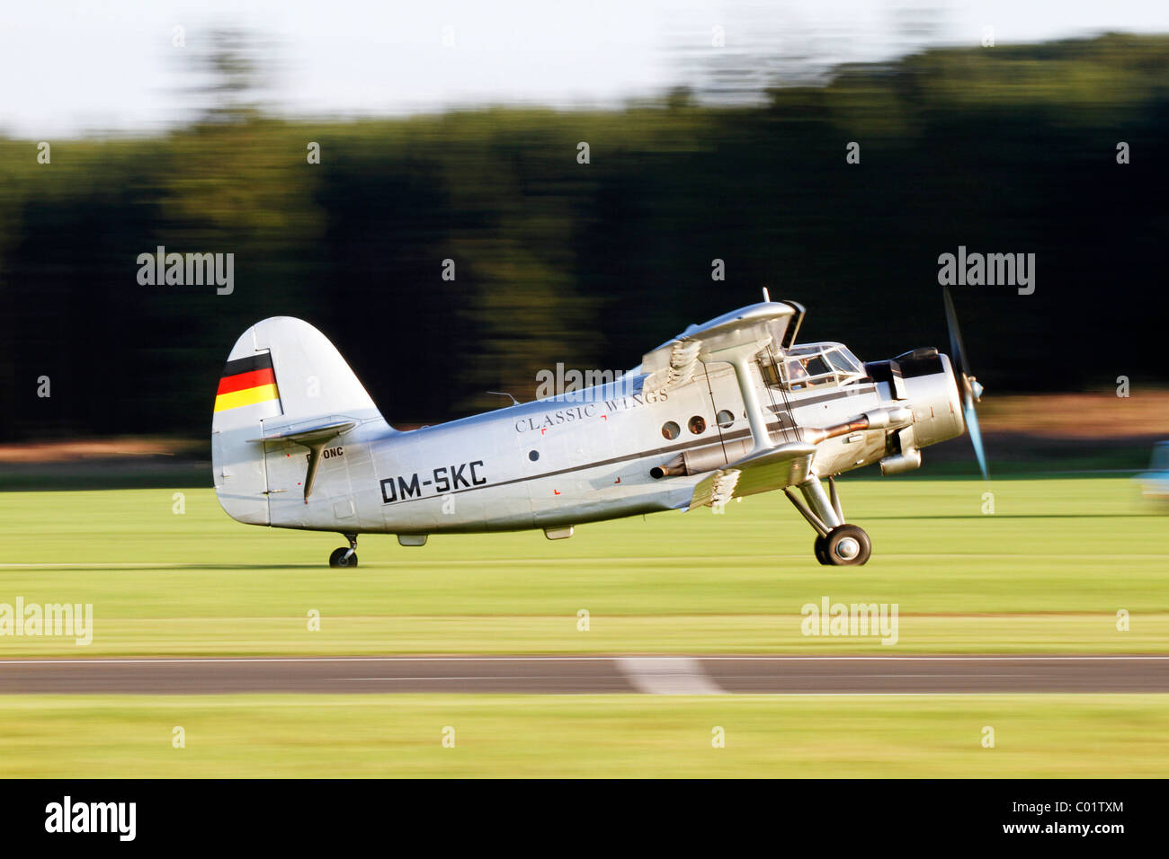 Vintage aircraft, Antonov AN-2, the largest single engine biplane in the world, Breitscheid Airshow 2010, Hesse, - Stock Image