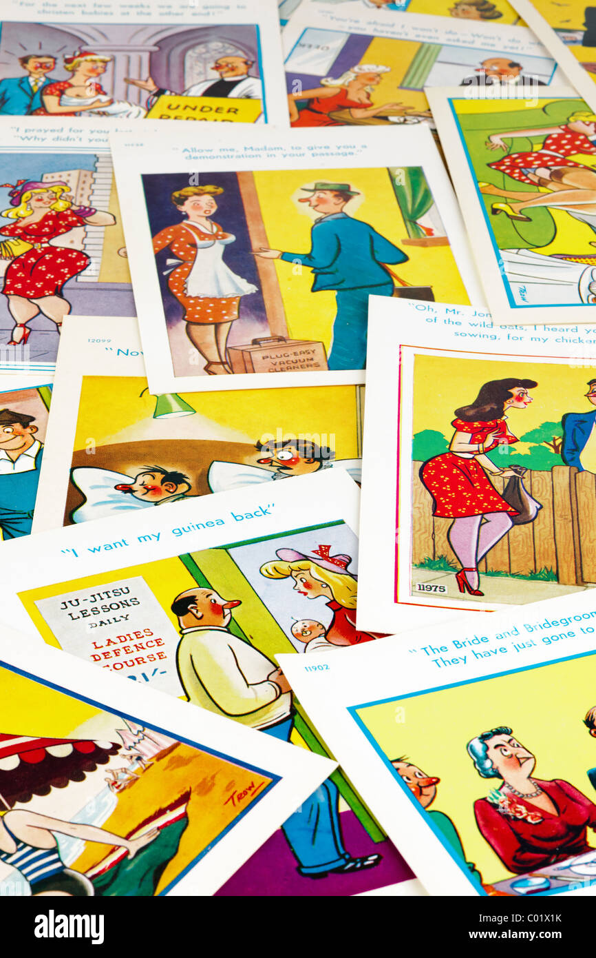 Pile of Saucy Trow postcards. EDITORIAL ONLY - Stock Image