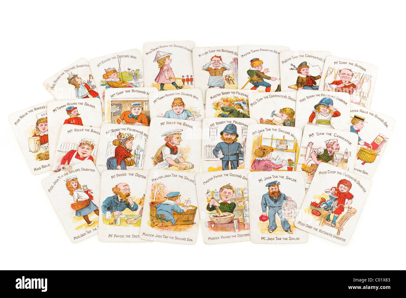 Pile of Victorian happy family funny families playing cards. EDITORIAL ONLY - Stock Image