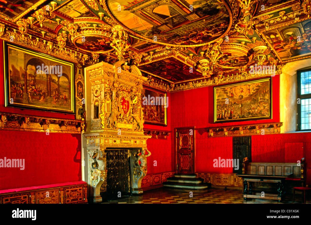 Red Hall, council chamber, Ratusz Głównego Miasta building, Główne Miasto district, - Stock Image