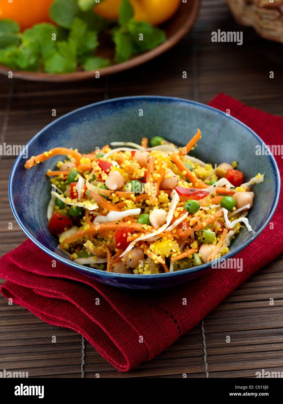 Chickpeas and peas salad - Stock Image