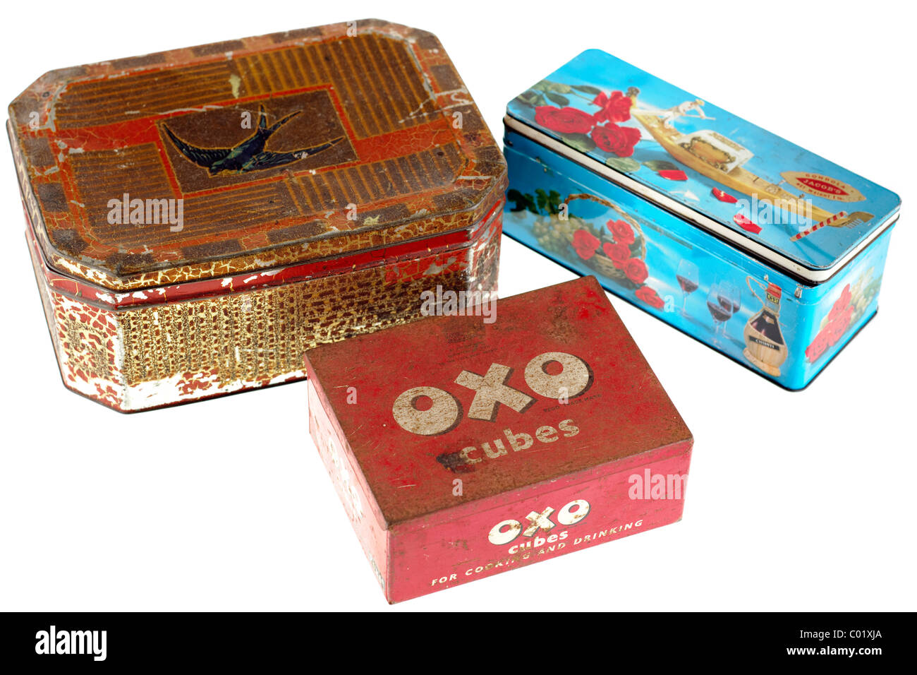 Three old aged rusting vintage tins Bluebird toffees,OXO cubes,and Jacobs crackers. EDITORIAL ONLY - Stock Image