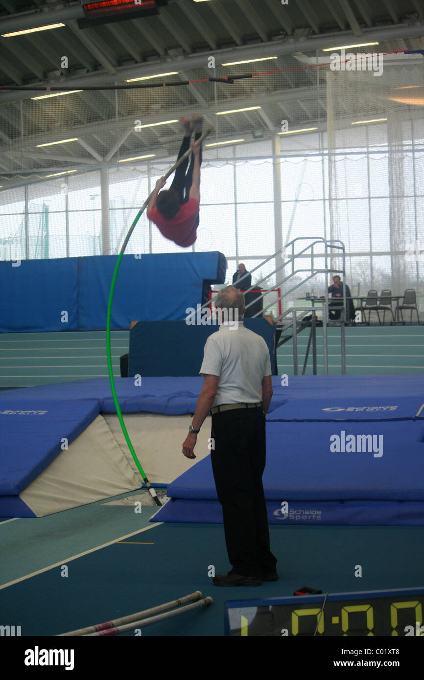 Pole Vaulter,  Lee Valley Athletics Track, London Indoor Games, - Stock Image