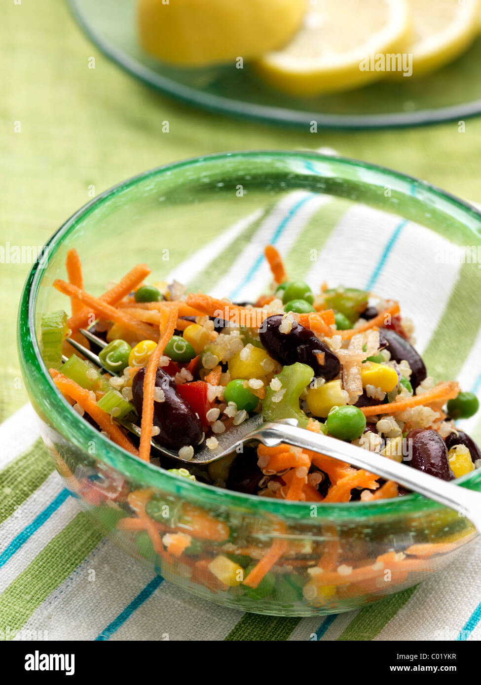 Vegetarian Quinoa Salad With Peas Carrots Celery Red Kidney Beans Stock Photo Alamy