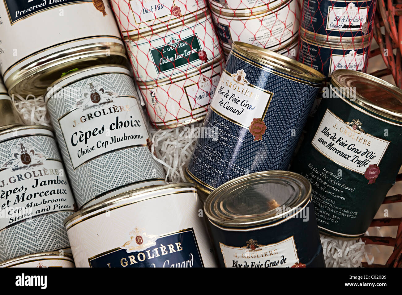 Cans of foie gras mushrooms and pate on sale in specialst shop Dordogne France French Europe - Stock Image