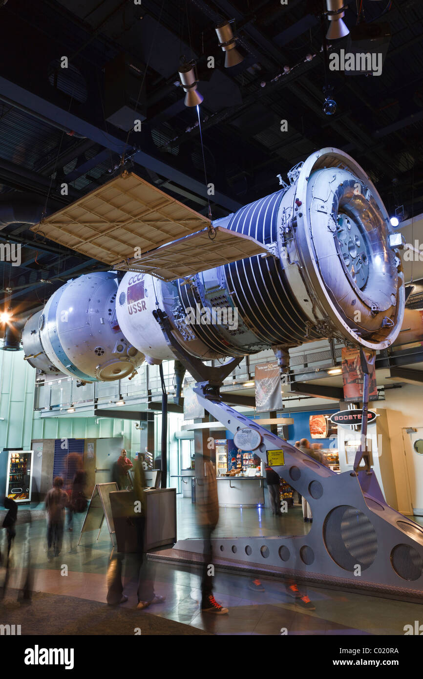 Russian Soyuz spacecraft on display at the National Space Centre, Leicester. - Stock Image