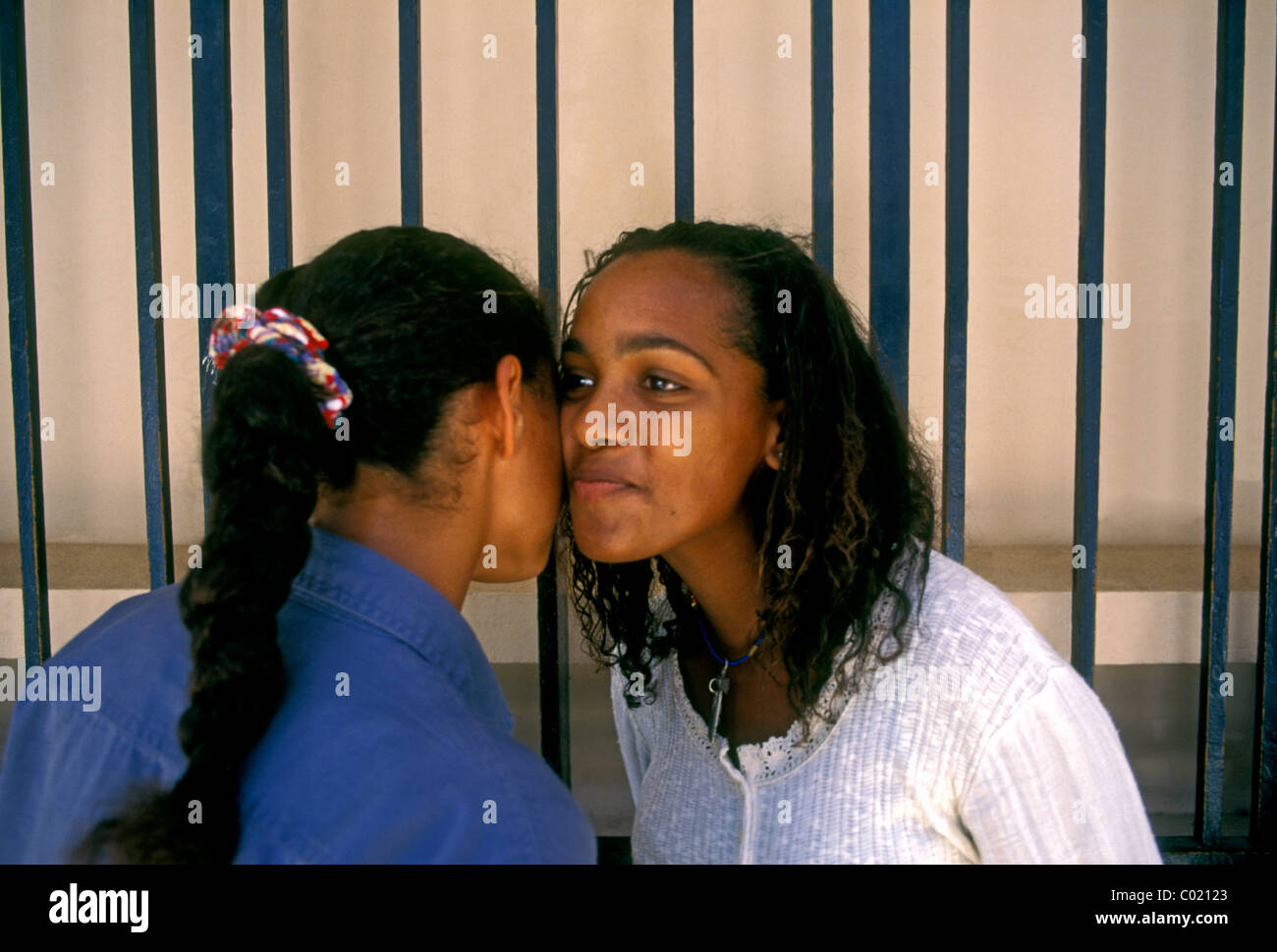 French girls greeting stock photos french girls greeting stock girls greeting kissing hello college michelet city of pointe a pitre m4hsunfo