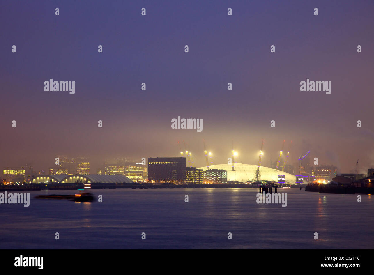 O2 Arena or Millennium Dome taken from the Thames Flood Barrier, Docklands, River Thames, evening light, Greenwich, - Stock Image