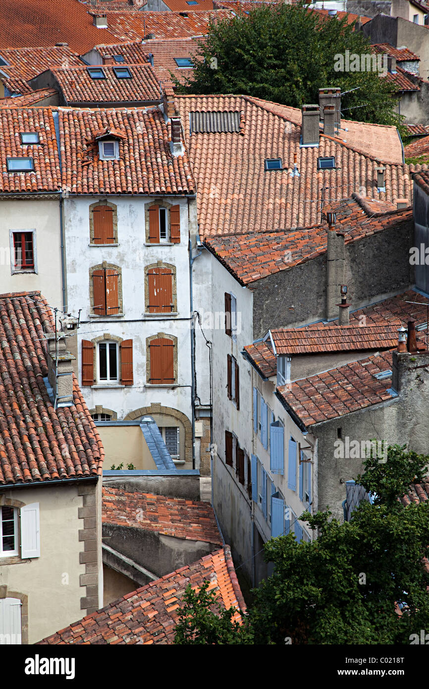 Rooftops and houses Foix department Ariege France - Stock Image
