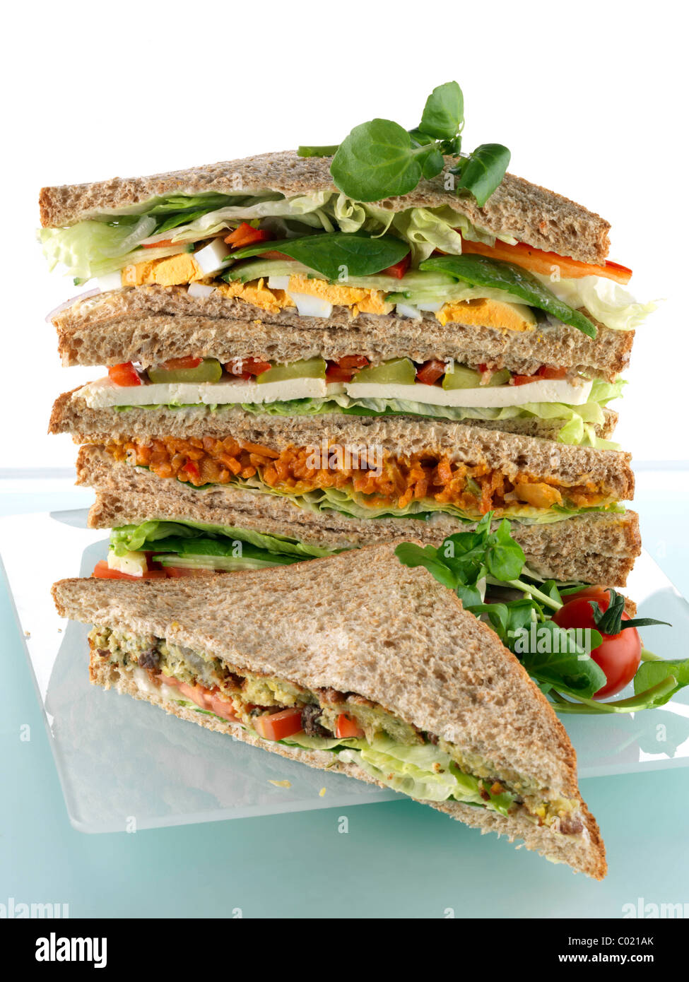 A pile of vegetarian sandwiches Stock Photo