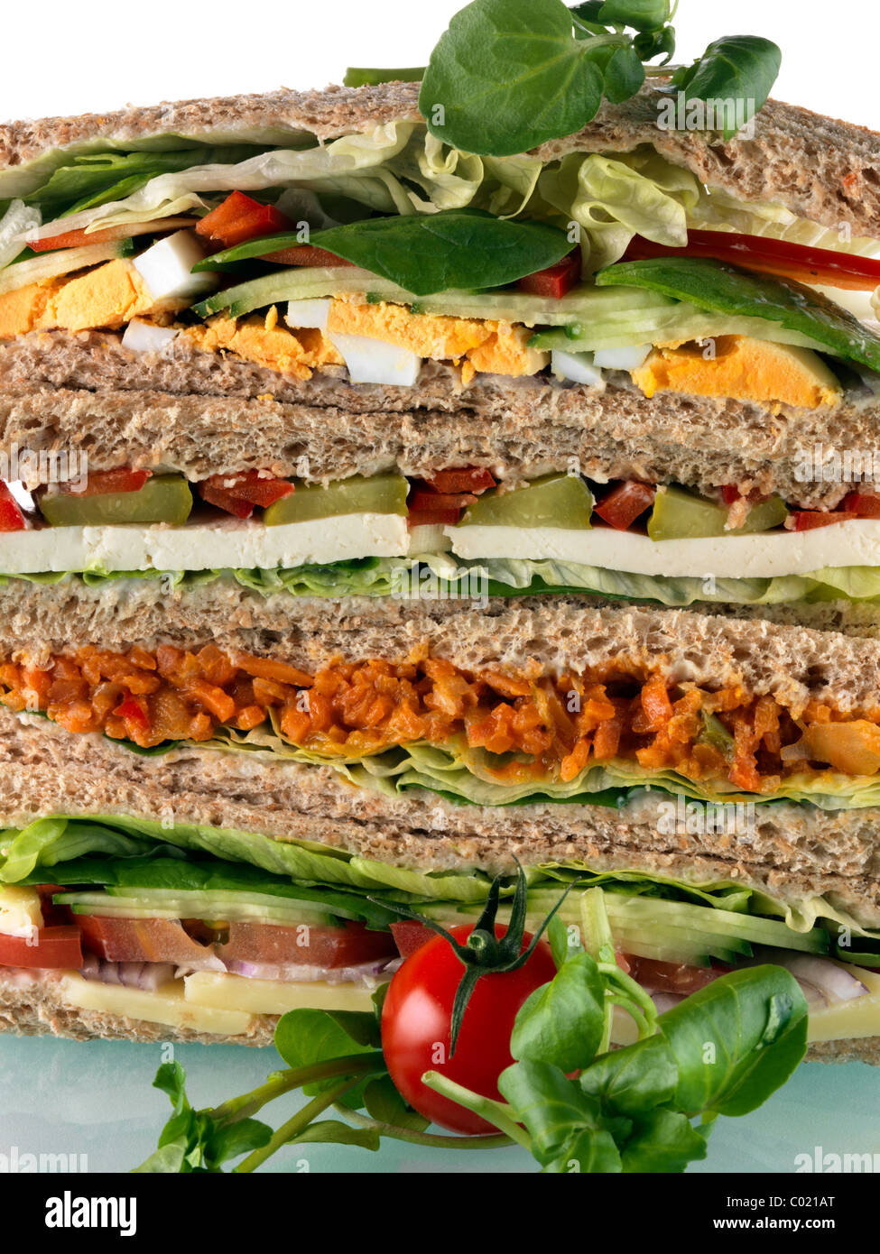 A pile of vegetarian sandwiches - Stock Image