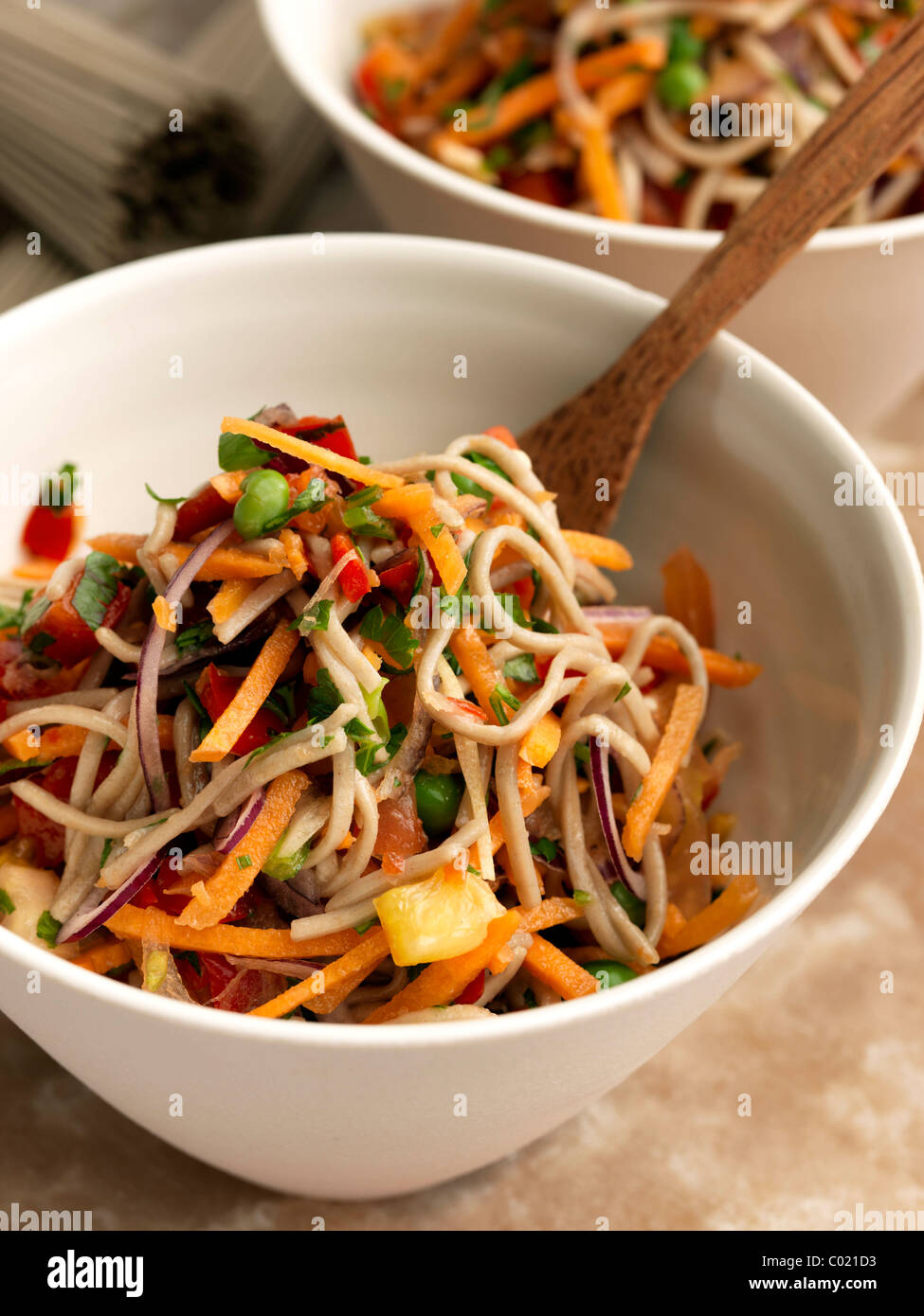 Individual portion of vegetarian soba noodles Stock Photo