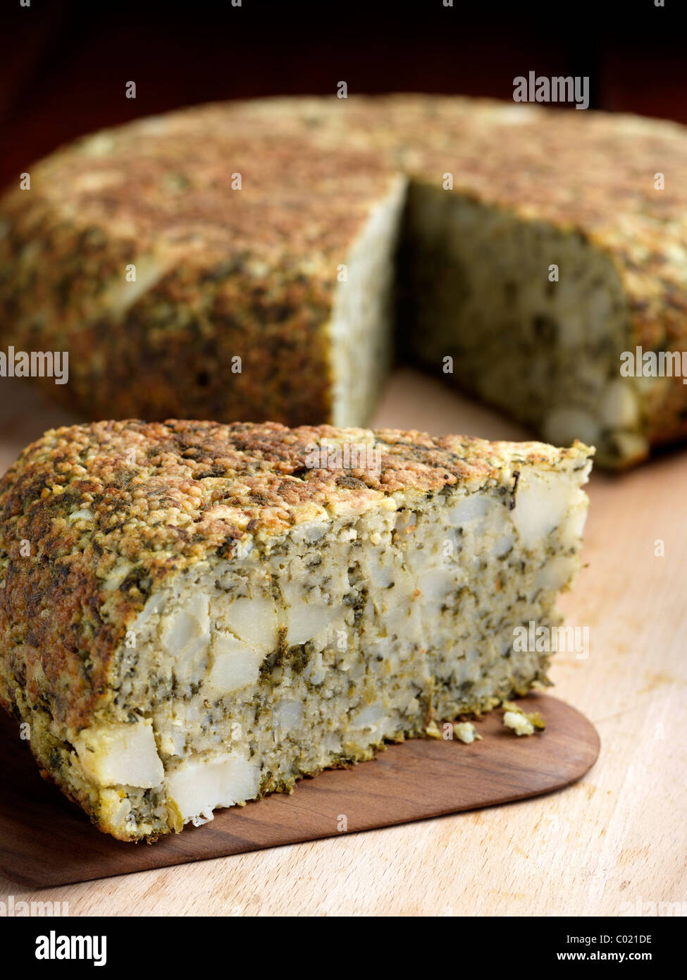 Spinach tortilla - Stock Image