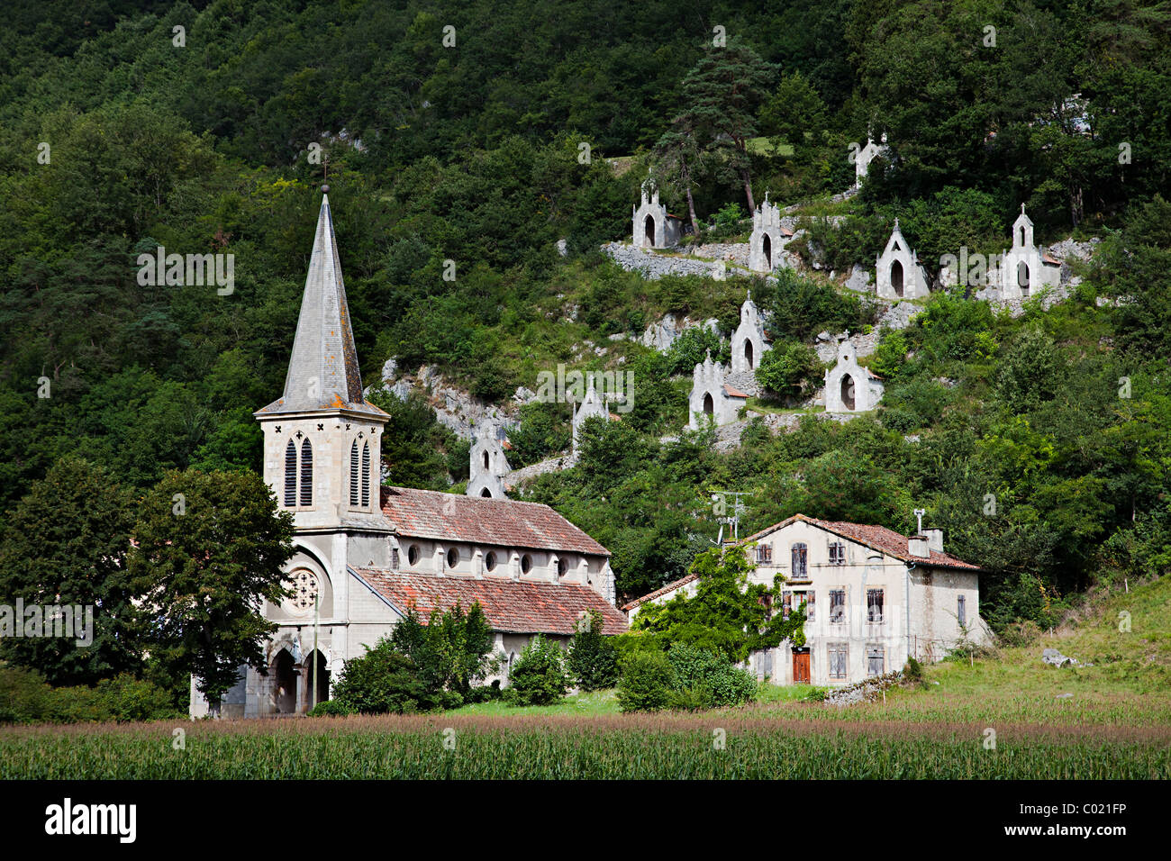 Eglise de Raynaude and Chemin de Croix department Ariege France Stock Photo