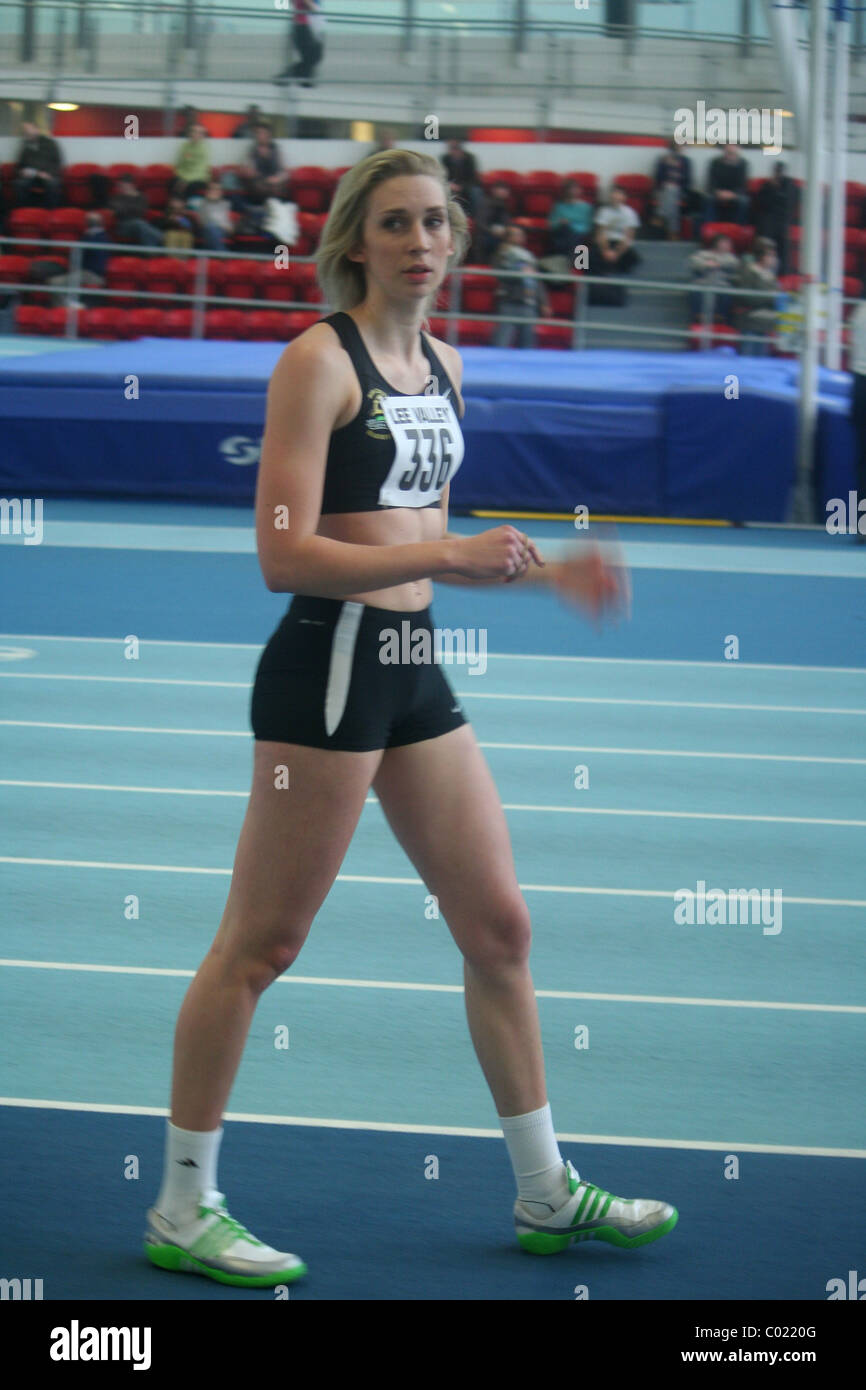 Bethan Partridge , Birchfield Harriers, at The London Indoor Games. Stock Photo