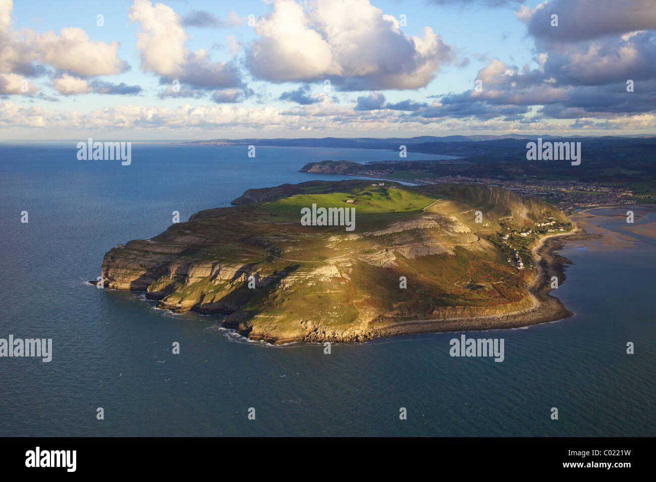 Aerial photograph of the Great Orme, Y Gogarth, or Pen y Gogarth, headland, Llandudno, North Wales, UK - Stock Image