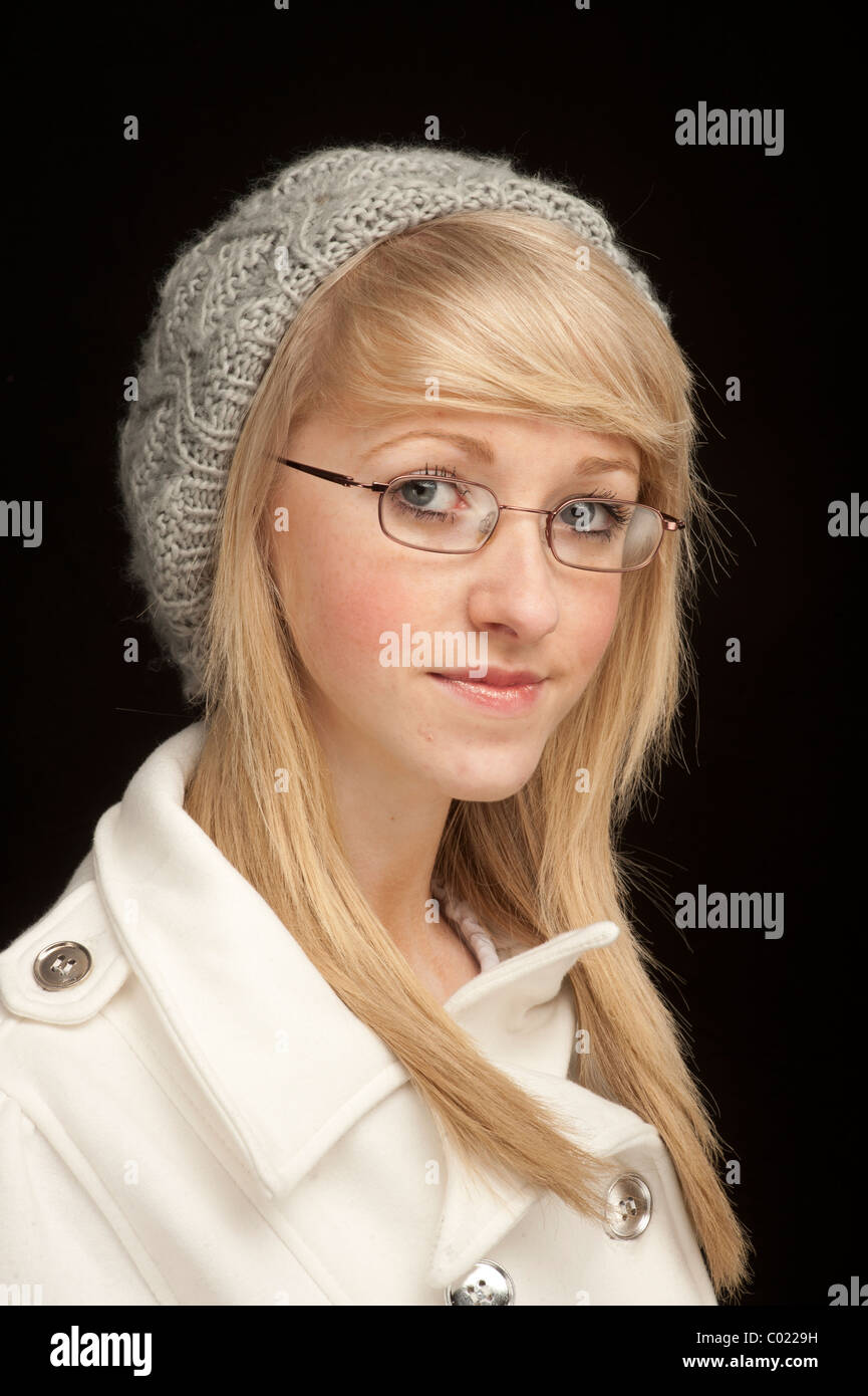 Blond mature woman in glasses
