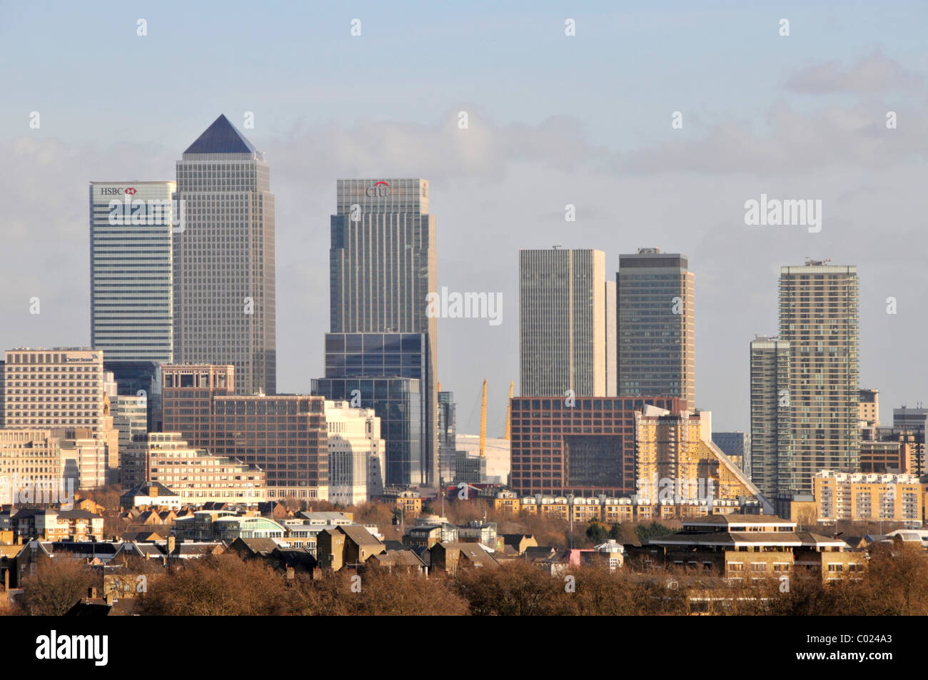 Urban landscape Docklands area of Canary Wharf financial district London city skyline skyscraper landmark bank buildings - Stock Image