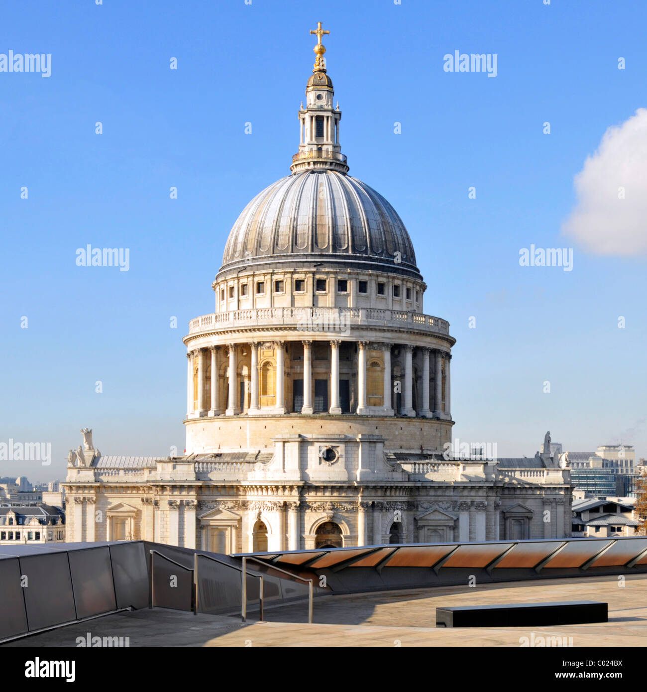 One New Change shopping centre roof terrace & dome of historical iconic St Pauls cathedral European church landmark - Stock Image