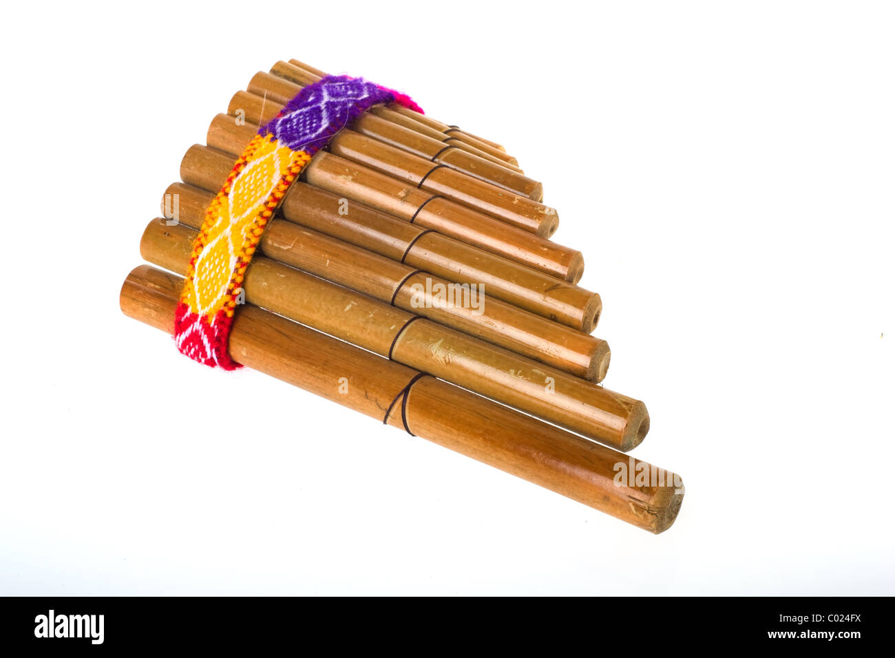 Peruvian Bamboo panpipe with colorful detals isolated over white - Stock Image