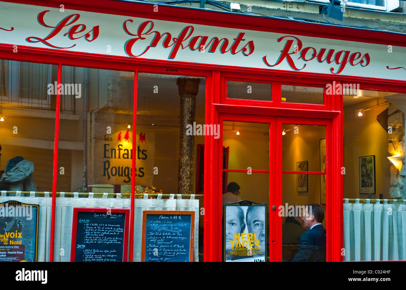 Paris, France, French Bistro Restaurant, 'Les Enfants Rouges' old Storefront, in the Marais District, - Stock Image