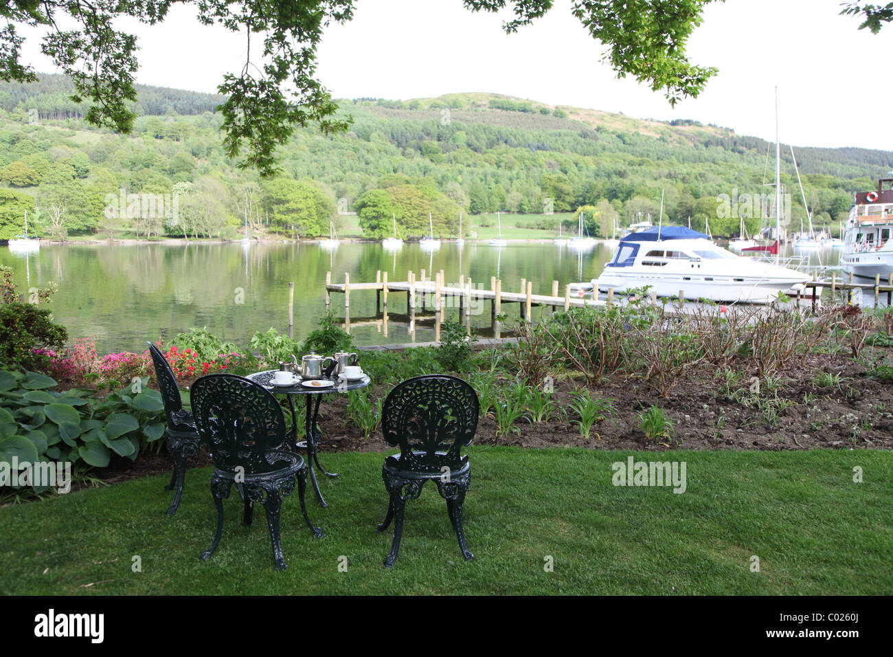 Tea for two at lakeside hotel in Lake District - Stock Image