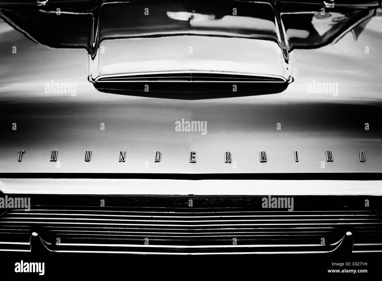 Ford thunderbird front end. Classic American T bird. Monochrome - Stock Image